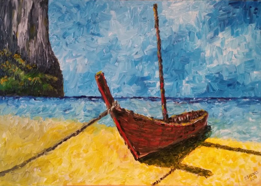 Boat On The Beach Original Painting